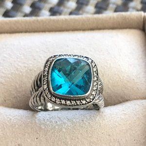Authentic David Yurman Ring w/Blue Topaz & diamond